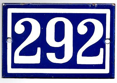 Old blue French house number 292 door gate plate plaque enamel steel metal sign