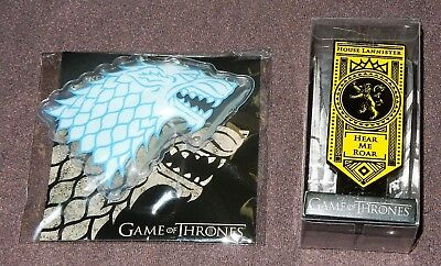 Game of Thrones House Lannister Enamel Sigil Pin + House Stark Hot / Cold Pack