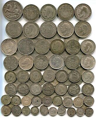CROWN TO THREEPENCES: £5 of pre 1947, equivalent to 8.92 troy ounces pure silver