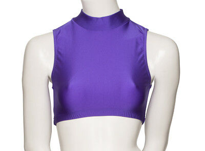 All Colours Nylon Lcyra High Neck Dance Fitness Gym Crop Top KCTN-7 By KATZ