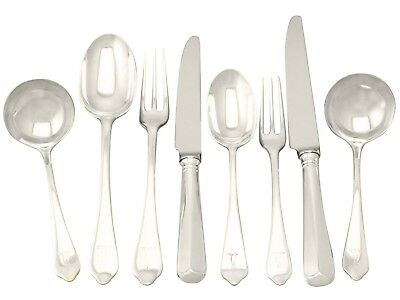 Antique Victorian Sterling Silver Canteen of Cutlery for 12 Persons - 74 Pieces