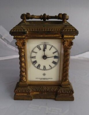 c1900 Antique Ansonia Columns Carriage Mantel Clock