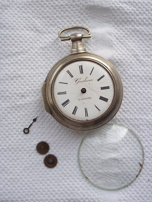 Antique Graham  London Key Wind  Fusee Pocket Watch 1800 For Spares