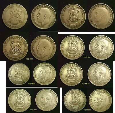 KING GEORGE V SHILLING 1911 to 1936 - 925 or 500 Silver Choice of Dates
