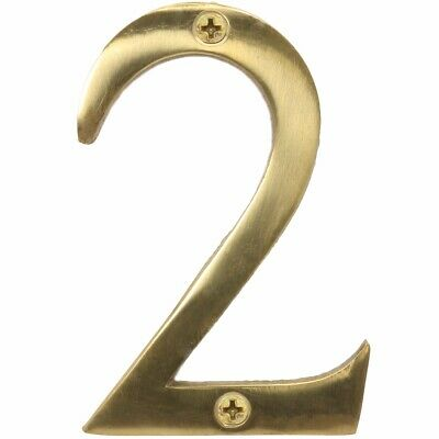 "SOLID POLISHED BRASS NUMBER+SCREWS '2' - (Two) 75mm/3"" Large House Front Door"
