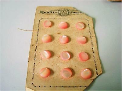 12 Vintage Antique Pink Mother of Pearl Self Shank Buttons 5/8 In.