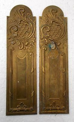 Stylish Pair of Vintage French Brass Door Finger Push Plates #3