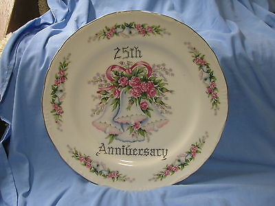 25Th Anniversary Porcelain Plate Norcrest Japan Floral Flowers Roses Bells