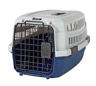 New Medium Pet Carrier Small Dog Med Cat Travel Box Cage Carrier in Grey & Blue
