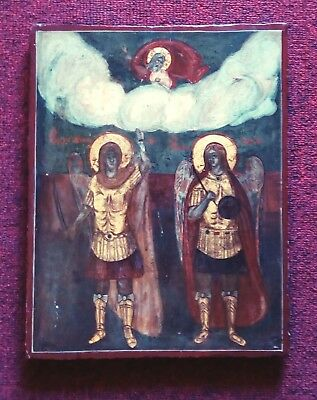 Antique greek orthodox icon -Synaxis of Archangels- icone antique - antike Ikone