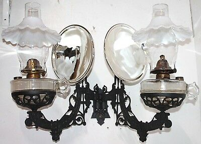 Antique Victorian Iron Wall Mounted Double Oil Lamp Sconce W/ Merc. Reflectors