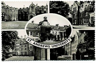 Vintage Real Photo Postcard . Views Of St Andrews University . Scotland