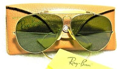 Vintage Ray-Ban USA 1950s B&L Outdoorsman 58 RB-3 Aviator 12k GF Mint Sunglasses