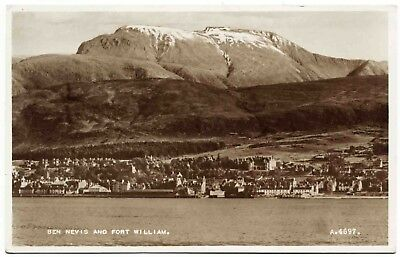 Early Real Photo Postcard . Ben Nevis & Fort William . Scotland