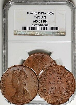 British India 1862-B 1/2 Half Anna Type A/1 NGC MS-61 BN