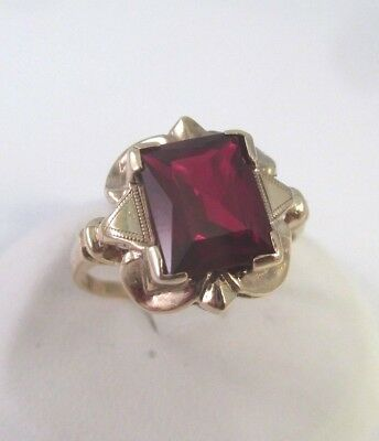 ANTIQUE Vintage 10K YELLOW GOLD EMERALD CUT RED SPINEL RING Sz 8.25