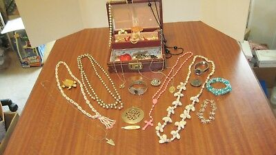Large Lot Of 31 Pcs. Of Vintage Jewelry And The Box From A Local Estate