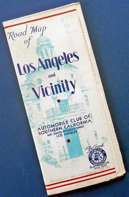 1937 LOS ANGELES and vicinity ACSC Auto Club of Southern California ROAD MAP
