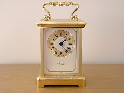 Vintage Hermle Quartz 2100 Carriage / Mantel Clock - Working