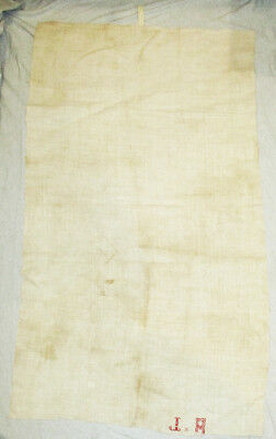 18-19th Century HOMESPUN THICK Beige LINEN FLAX FABRIC JA Embroidered Initials
