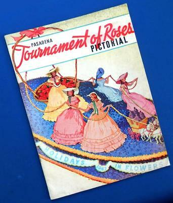 """1947 TOURNAMENT of ROSES PICTORIAL Pasadena Calif. Parade """"Holidays in Flowers"""""""