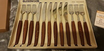 Vintage Glosswood Cutlery Boxed 12 Piece Knives & Forks Set 1970's unused