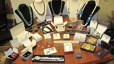 Large Lot Of 36 Pcs. Of Vintage Jewelry From A Local Estate