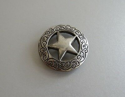Converted quarter sterling silver western Texas  star button horse tack concho