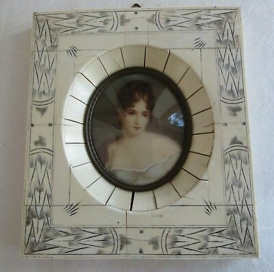 Fine 19th C Miniature painting of a beautiful pixie woman German French Reramier
