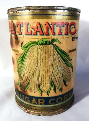 Early 1900's Atlantic Brand Sugar Corn Tin Can Iowa Nebraska Empty 1 # 4 oz size