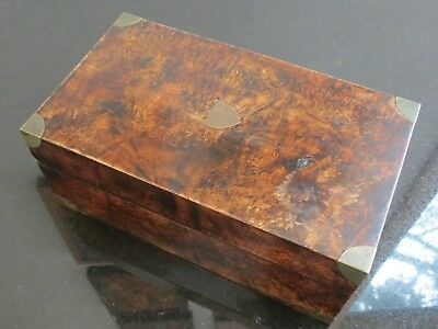 Antique burl wooden letter box dated 1833 Souvenir brass lock & key marble paper