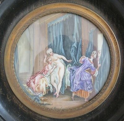 "Baudouin French  erotic miniature painting "" Le Soir ""  Antique 19th c signed"