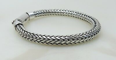 Extremely fine thick 6 mm tight weave Bali style sterling silver chain bracelet