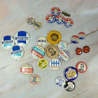 Lot of 27 Vintage Assorted Political Campaign  Buttons & Pinbacks & Token