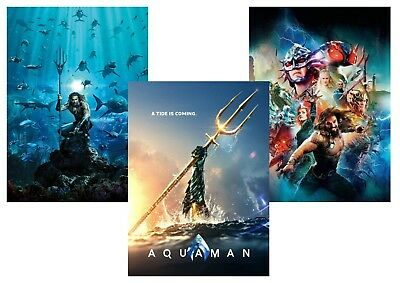 AQUAMAN Movie: DC Comics, Jason Momoa,  A5 A4 A3 Movie & Textless Posters