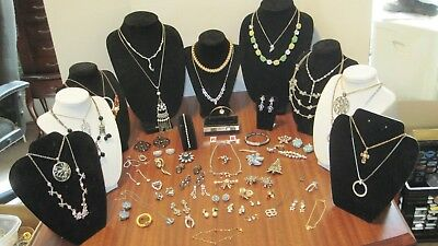 Large Lot Of 62 Pcs. Of Vintage Rhinestone Jewelry From A Local Estate