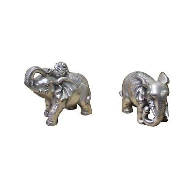 Chinese Pair Silver Color Mixed Metal Elephant Decor Figures cs4434