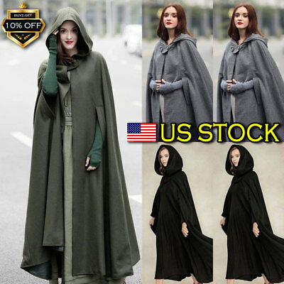 New Women's Open Front Cardigan Jacket Vintage Trench Coat Cape Cloak Poncho USA