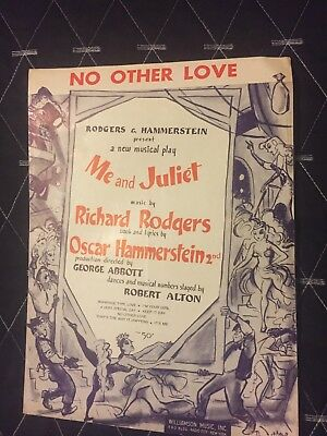 No Other Love Me And Juliet Rodgers Hammerstein 1953 Sheet Music