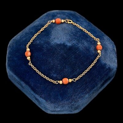 Antique Vintage Art Deco 14k Yellow Gold Chinese Carved Momo Coral Bead Bracelet