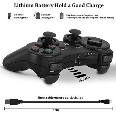 NEW Wireless Controller For PS3 Bluetooth OUBANG  With Cable  (Black)
