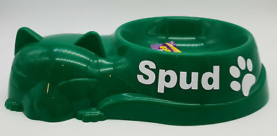 BNWT Petzplus Brand Sleeping Cat Personalised Bowl Green Plastic 24cm Made In Au