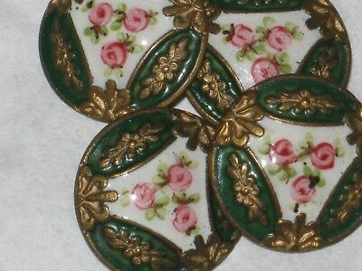 4 Buttons Old Enamel green pink 18 mm art deco? anciens old french lot 4