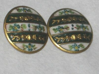 2 Button Old Enamel green 18 mm art deco? anciens old french lot 2