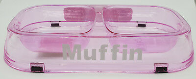 BNWT Petzplus Personalised Name Pink Twin Cat Bowl Non Slip Made In Aus