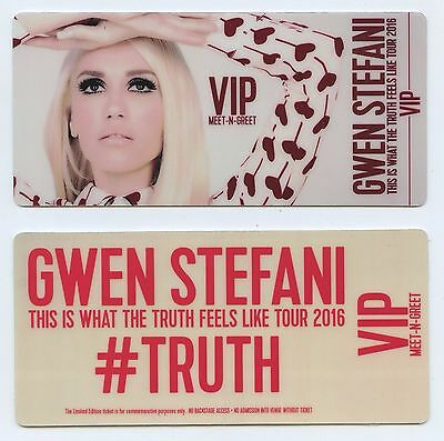 2 vip meet greet passes for toto at mpac montgomery performing 2 pair gwen stefani commemorative vip meet greet pass truth feels like tour 2016 m4hsunfo