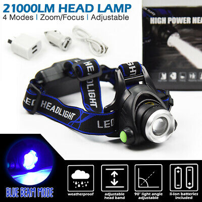 LED Headlamp Rechargeable Li-Ion Headlight Blue Beam Head Torch Camping Outdoor