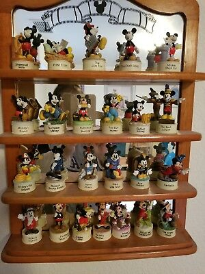Disney Lenox Movie Star Mickey Mouse Thimble Collection Complete - 24 w/ Display