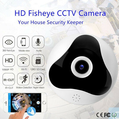 HD Wifi IP Camera 1080P 360 Degree PTZ  Fisheye Panoramic Wireless Night VR Cams