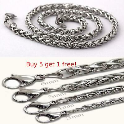 """3/4/5/6MM 18-36""""  Mens Stainless Steel Wheat Braided Chain Necklace"""